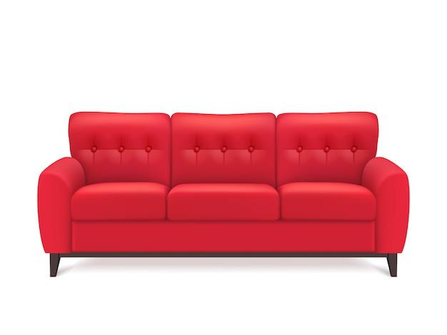 Rood lederen sofa realistische afbeelding Gratis Vector