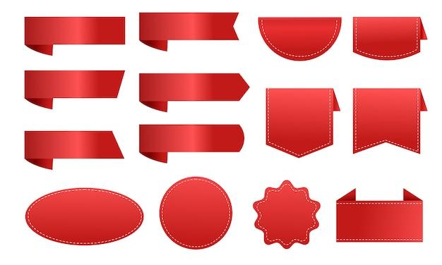 Rood lint label prijskaartje korting grote collectie Premium Vector