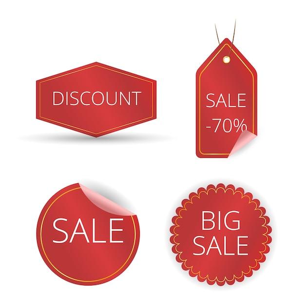Rood lint van prijskaartje, verkooppromo, nieuwe aanbieding, geplaatste kortingstags. Premium Vector