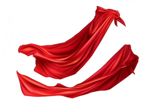 Rood mantels superhelden kostuum met kappen set. Gratis Vector