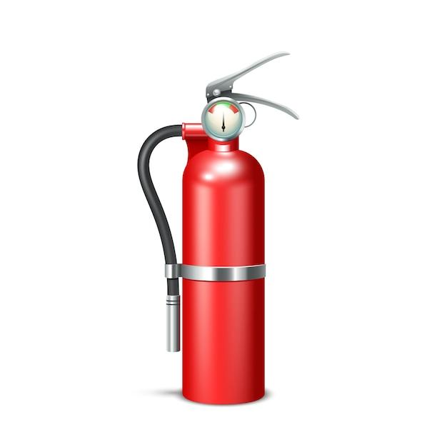 Rood realistisch brandblusapparaat dat op witte achtergrond wordt geïsoleerd Gratis Vector