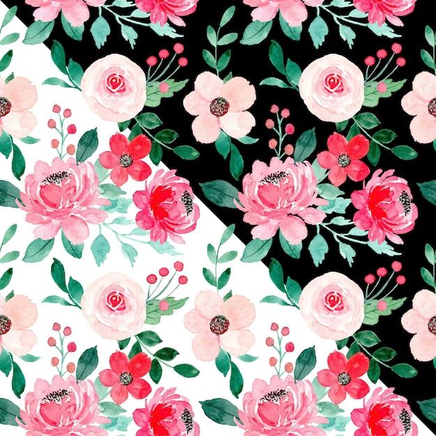 Rood roze bloemen aquarel naadloze patroon met zwarte en witte kanten Premium Vector