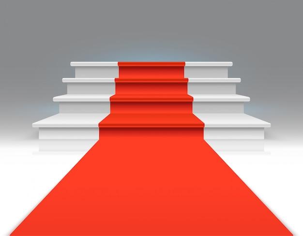Rood tapijt op witte het lopen treden. succes, bedrijfsgroei en toekennings vector abstracte exclusieve achtergrond. tapijt op trap, tot podium, trapillustratie Premium Vector