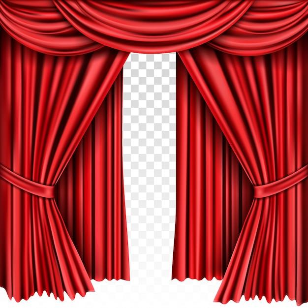 Rood toneelgordijn voor theater, operascène drapeert Gratis Vector
