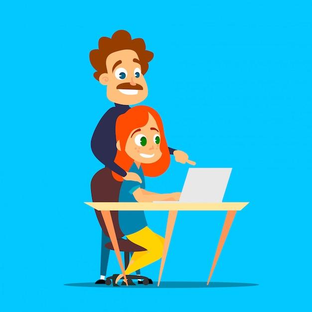 Roodharig meisje studeert met een privéleraar op een laptop. cartoon illustratie van modern leren. Premium Vector