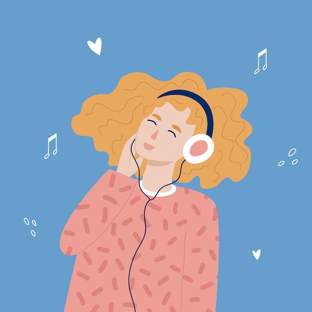 Roodharige hipster tienermeisje luisteren naar muziek met een koptelefoon. trandy handgetekende stijl. Premium Vector