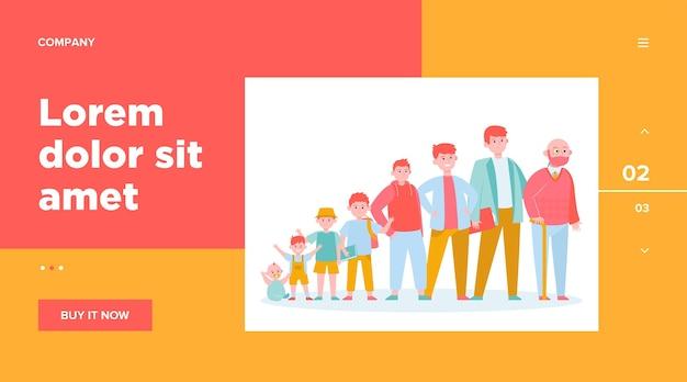 Roodharige man van verschillende leeftijden. tiener, kinderschoenen, vader. groeicyclus en generatieconcept voor websiteontwerp of bestemmingswebpagina Gratis Vector