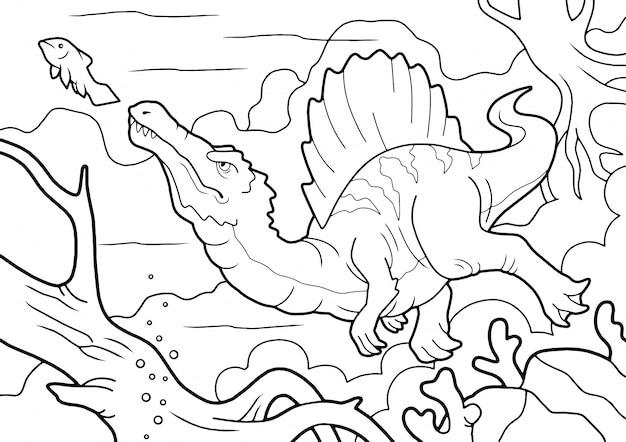Roofzuchtige dinosaurus spinosaurus, jaagt onderwater, kleurboek, grappige illustratie Premium Vector
