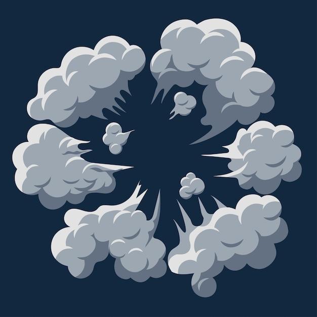Rookwolk explosie. stof bladerdeeg cartoon frame vector Premium Vector