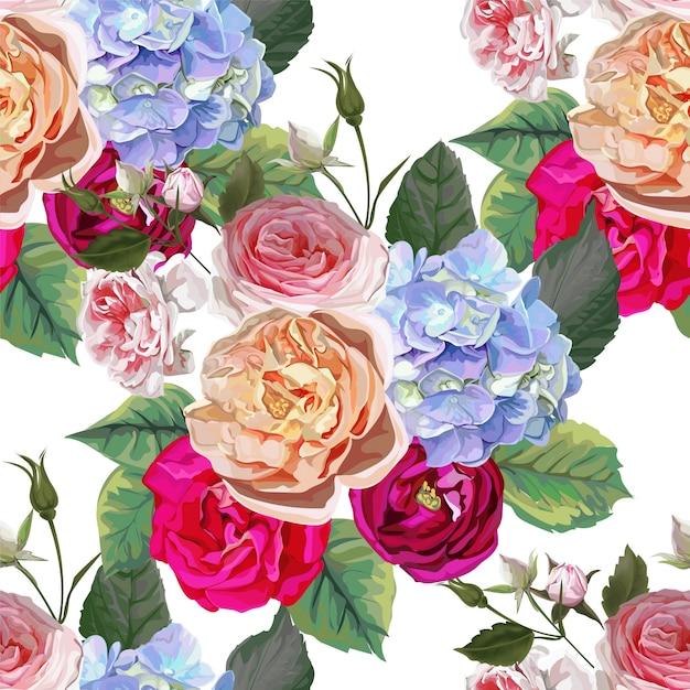 Roos en hortensia bloemenboeket Premium Vector