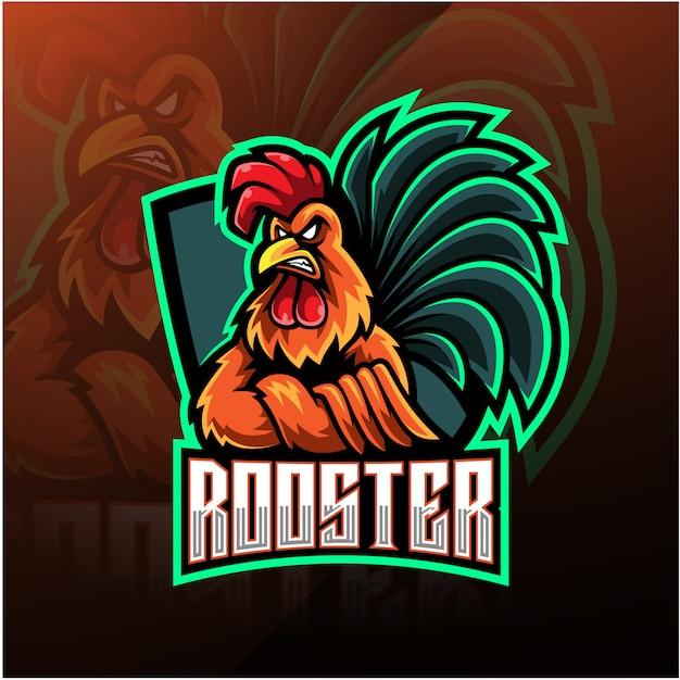 Rooster esport mascotte logo ontwerp Premium Vector