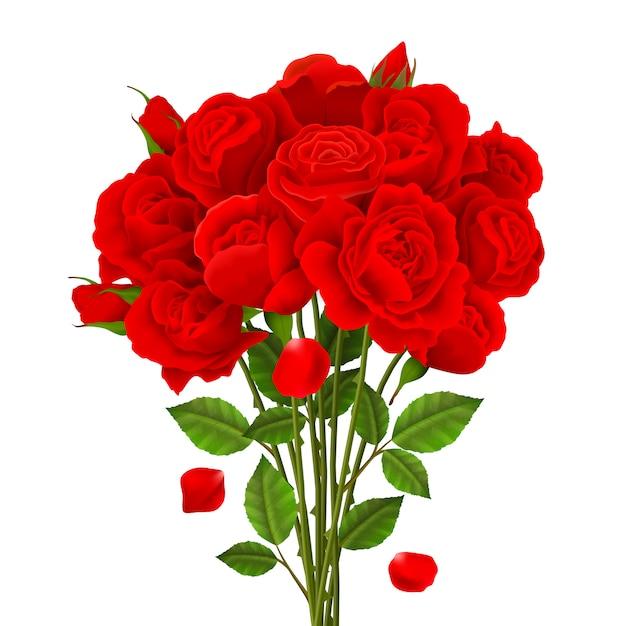 Rose boeket illustratie Gratis Vector