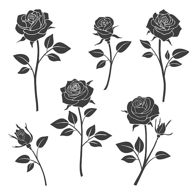 Rose buds silhouetten. Premium Vector