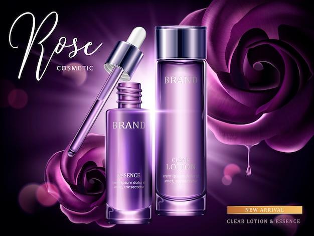 Rose cosmetische advertenties, druppel en glazen fles in paars met burst-licht in illustratie, paarse rozen Premium Vector