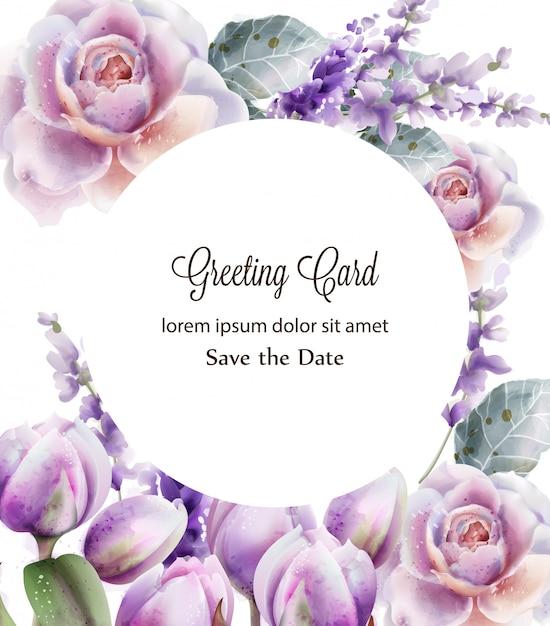 Rose en tulpen kaart aquarel. lente zomer bloemenboeket. frame achtergrond Premium Vector