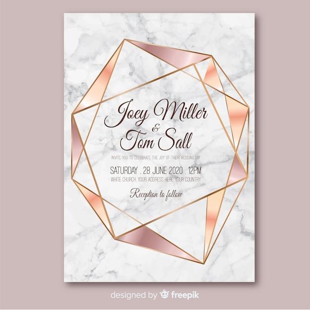 Rose gold geometrische bruiloft uitnodiging sjabloon Gratis Vector