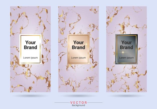 c017f3e3ce7b75 Rose gold packaging product design label en stickers sjablonen Premium  Vector