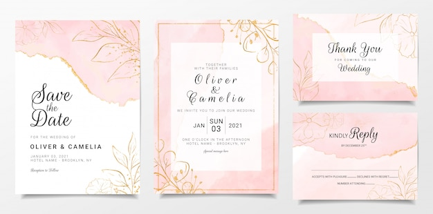 Rose goud aquarel bruiloft uitnodiging kaartsjabloon ingesteld met gouden bloemendecoratie Premium Vector