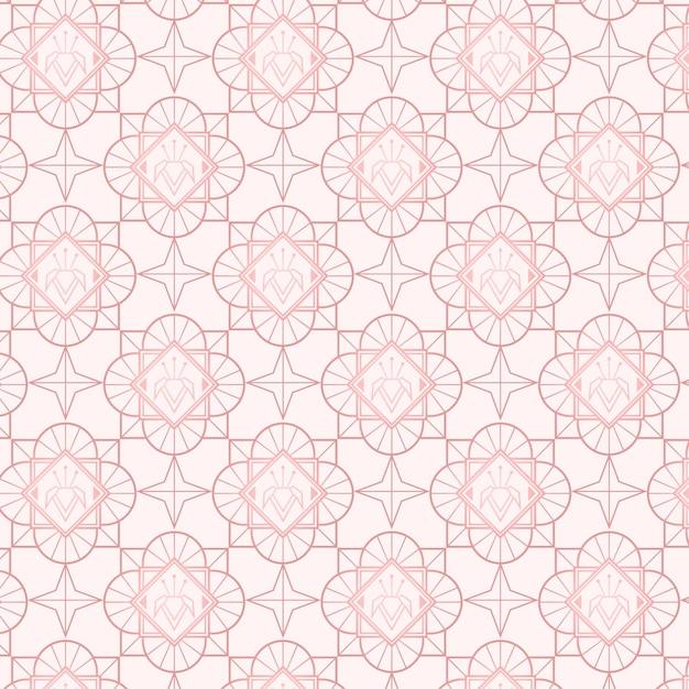 Rose goud art deco patroon Gratis Vector