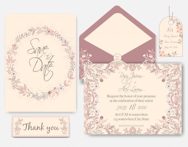 Rose goud glitter roze bruiloft kaart uitnodiging Premium Vector