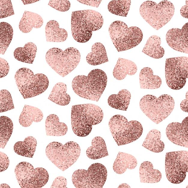 Rose goud harten naadloze patroon Premium Vector