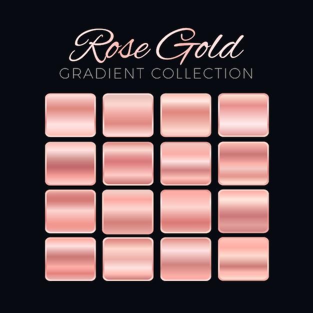 Rose goud kleurverloop blokken collectie Gratis Vector