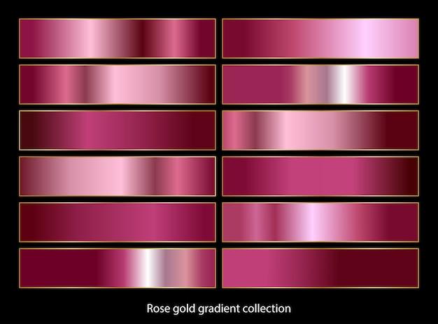 Rose goud kleurverloop palet collectie. Premium Vector