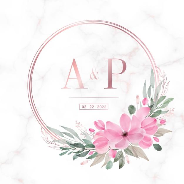 Rose gouden cirkelframe met bloemen op marmeren achtergrond voor bruiloft monogram logo en uitnodigingskaart Gratis Vector