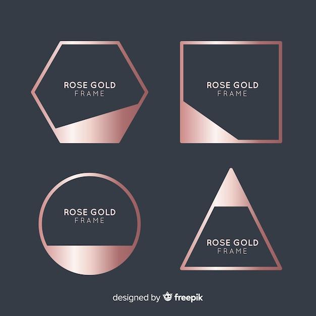 Rose gouden frame-collectie Gratis Vector