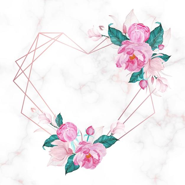 Rose gouden hart frame met bloemen op marmeren achtergrond. Gratis Vector