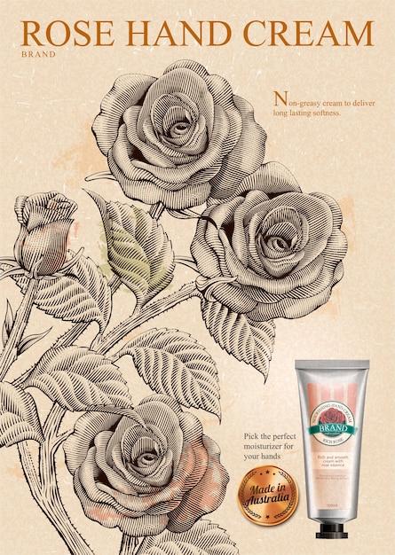 Rose handcrème-advertenties, exquise handcrème-product en gouden label in illustratie met rozen in ets-arceringstijl Premium Vector