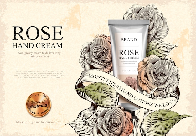 Rose handcrème-advertenties, exquise handcrème-product en gouden label in illustratie met rozen in ets-arceringstijl Premium Vector