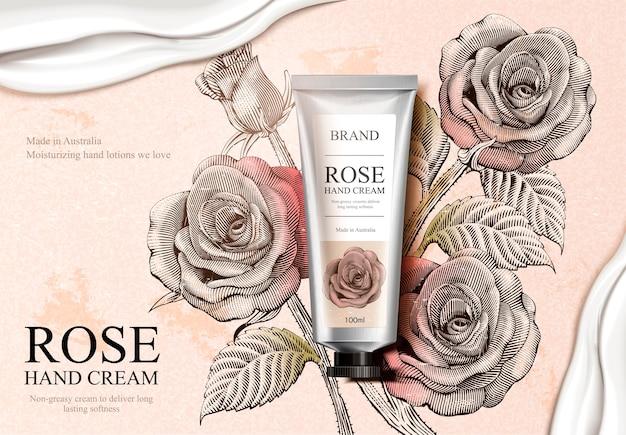 Rose handcrème advertenties, exquise handcrème product en romige textuur in illustratie met rozendecoraties in ets arcering stijl Premium Vector