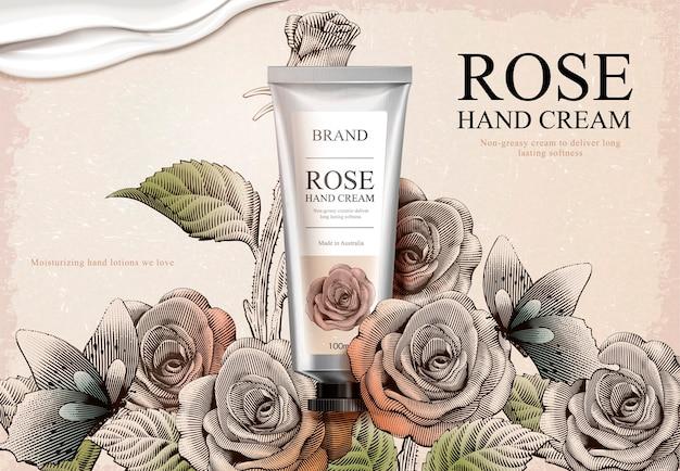 Rose handcrème advertenties, exquise handcrème product en romige textuur in illustratie met rozentuin en vlinders in ets arcering stijl Premium Vector