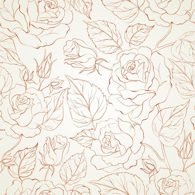 Rose naadloze achtergrond Gratis Vector