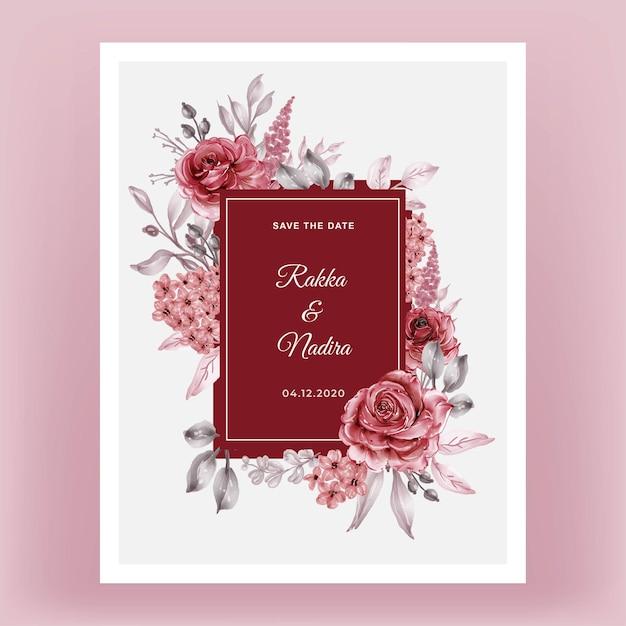 Rose rood bordeaux bloemen frame aquarel illustratie Premium Vector