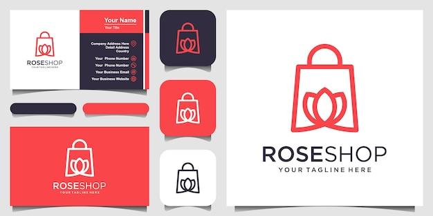 Rose shop logo designs sjabloontas gecombineerd met bloem Premium Vector