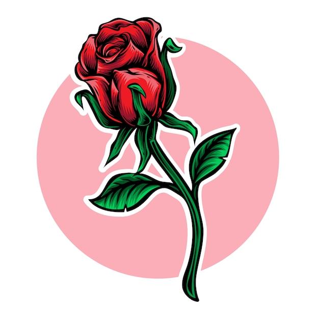 Rose stengel bloem vectorillustratie Premium Vector