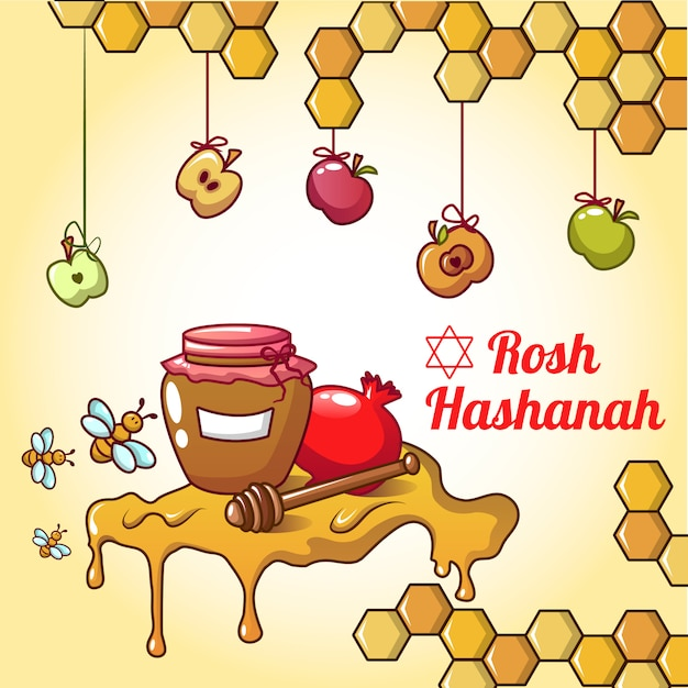 Rosh hashanah-honingsconcept, beeldverhaalstijl Premium Vector