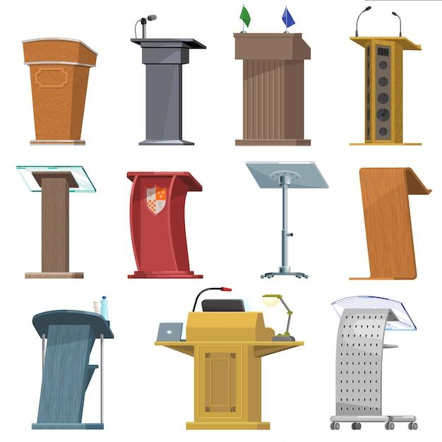 Rostrum vector podium staan voor spreker toespraak presentatie op zakelijke conferentie illustratie seminar communicatie set tribune publiek debat tribune op podium geïsoleerde icon set Premium Vector