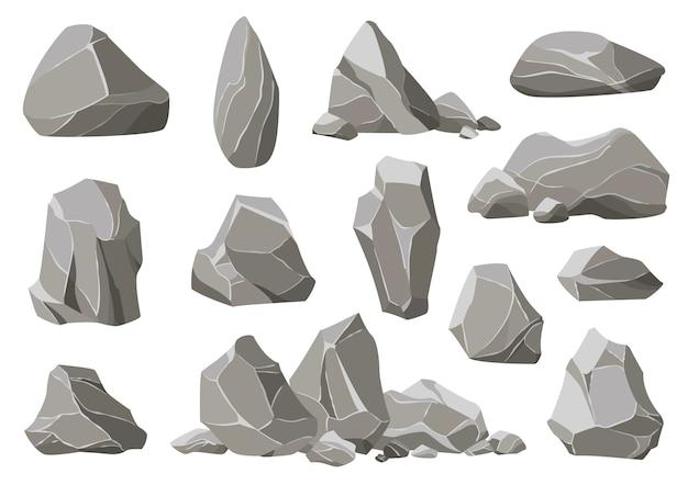 Rotsstenen en puin van de berg. grind, grijze stenen hoop cartoon geïsoleerd Premium Vector