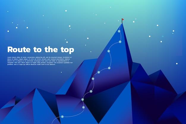 Route naar de top van de berg Premium Vector