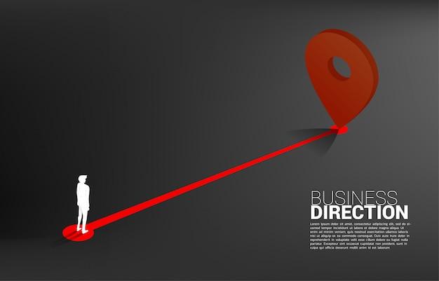 Route tussen 3d locatie pin markers en zakenman. concept voor locatie en zakelijke richting. Premium Vector