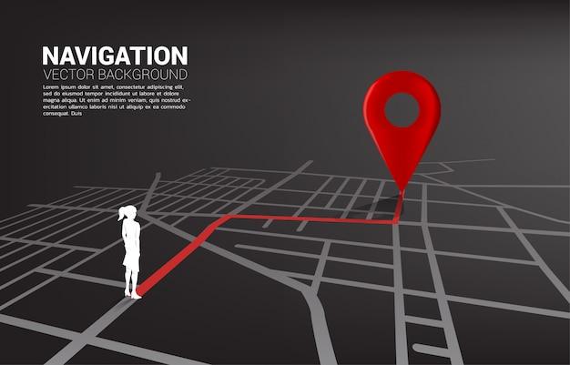Route tussen 3d-locatie pin markers en zakenvrouw op stad wegenkaart. Premium Vector