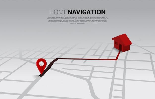 Route tussen 3d-locatiepinsmarkeringen en huis op stadsplattegrond. concept voor gps-navigatiesysteem infographic. Premium Vector