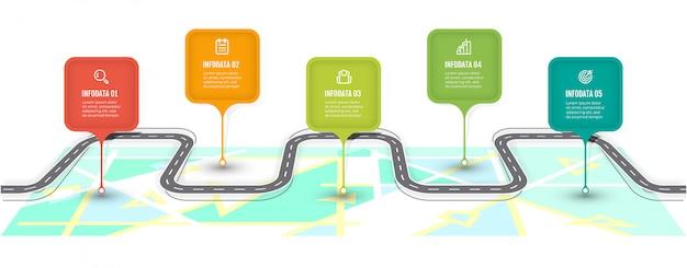 Routekaart infographic sjabloon. tijdlijn met 5 stappen, opties. bedrijfsconceptontwerpetiket en pictogrammen. Premium Vector
