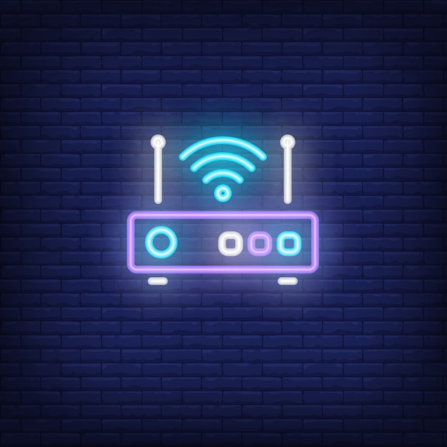 Router met signaal symbool neon teken Gratis Vector