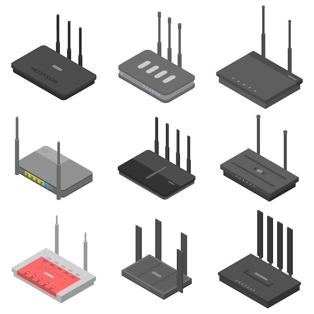 Router pictogrammen instellen, isometrische stijl Premium Vector