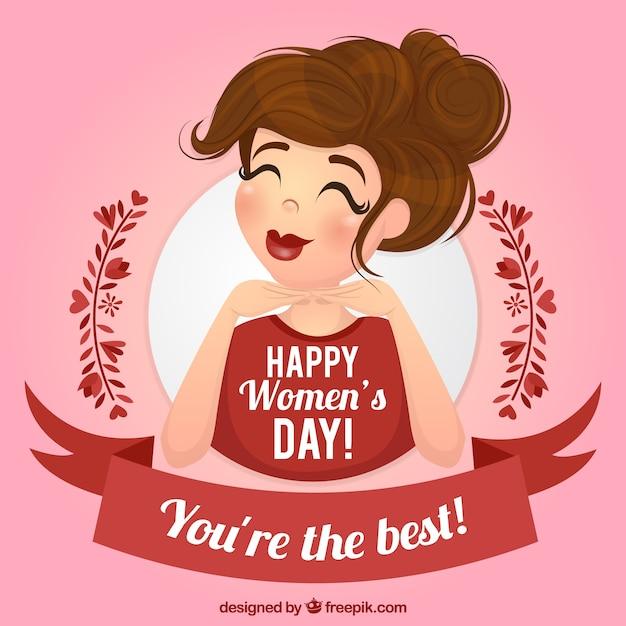 Roze achtergrond met lachende vrouw en rood lint Gratis Vector