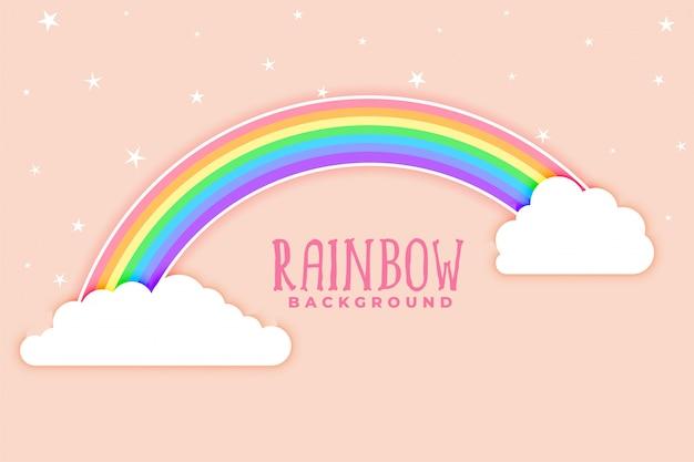 Roze achtergrond met regenboog en wolken Gratis Vector